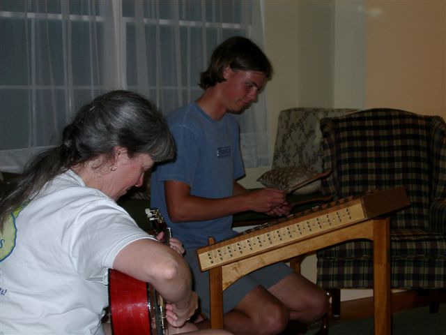 "My ""whiz kid"" dulcimer student, Nick Gregg, backed up on guitar by his teacher! Nick started playing when he was 10; here, he'd just graduated high school. (Now he's in residency training to be a doctor.) And boy, can he play! (photo by Sarah Gregg)"
