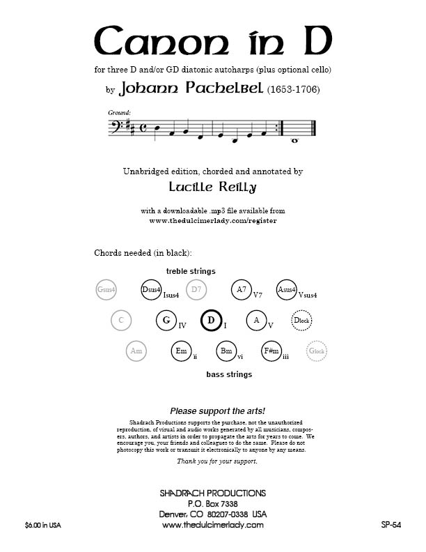 Pachelbel Canon--cover page